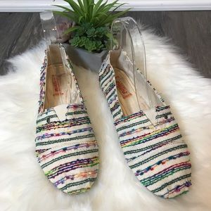Mad Love Striped Knit Loafer Slip On Flat Shoes